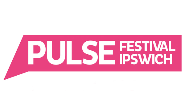The landscape image shows the pink speech bubble logo for Pulse Festival, Ipswich.