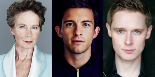 The image shows a row of three actors' headshots. From left to right, the actors are Celia Imrie, Jonathan Bailey and Samuel Barnett.