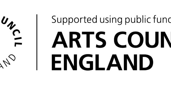 The image shows the black circular logo of 'Arts Council England' with black text to the right of it reading 'Supported using public funding by Arts Council England.'