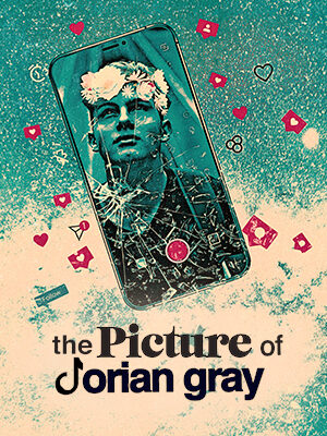 On a dappled blue and white background is the blue-and-grey-scale image of a phone with a smashed screen. On the screen is a picture of a young man gazing towards the sky, a filter adding a crown of flowers to his head. The camera button on the phone is lit up in pink. Pink icons like love hearts, chat messages and buttons circle the phone and, underneath, in black writing are the words 'The Picture of Dorian Gray.'