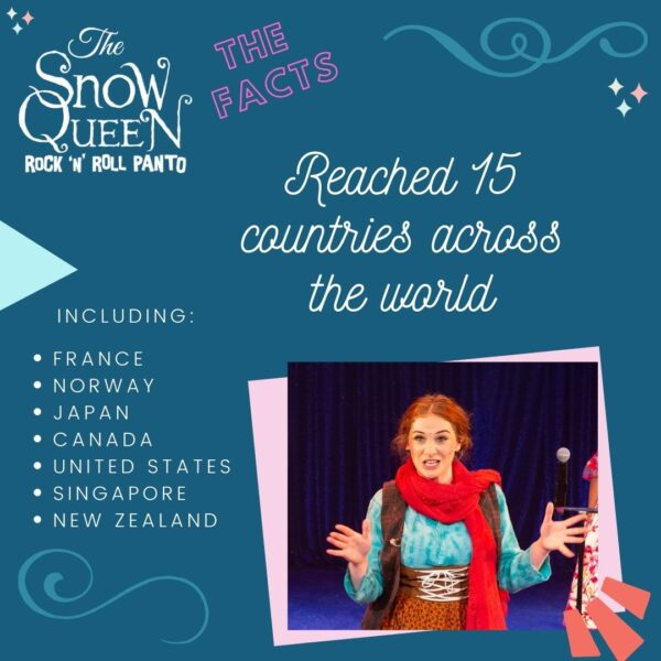 The Snow Queen: Fun Facts image with a photo of Gerda from the show. In swirly white text are the words 'Reached 15 countries across the world' which is continued later with plain text that reads 'including: France, Norway, Japan, Canada, United States, Singapore, New Zealand.'