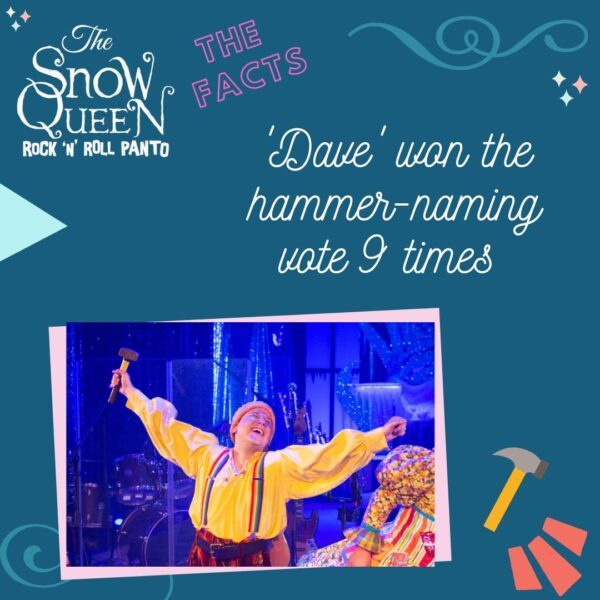 The Snow Queen: Fun Facts image with a photo of Simon from the show. In swirly white text are the words 'Dave' won the hammer-naming vote 9 times.'