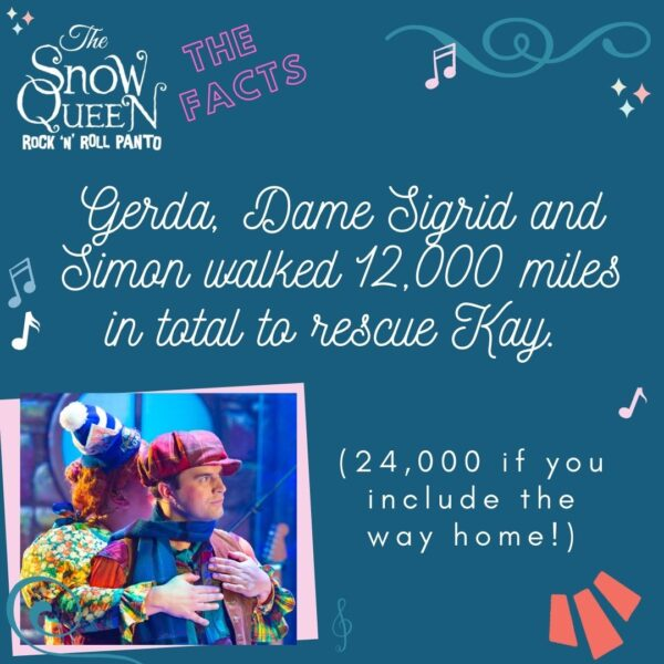 The Snow Queen: Fun Facts image with a photo of Sigrid and Kay from the show. In swirly white text are the words 'Gerda, Dame Sigrid and Simon walked 12,000 miles in total to rescue Kay' which is followed in plain text with '(24,000 if you include the way home!)'