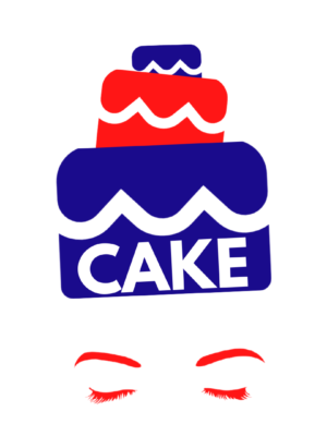 On a white background is a minimalist silhouette in blue and red of a woman. She has red eyebrows and eyelashes and has her eyes closed. The image only shows her face from her eyes up. Her hair consists of three tiers of cake in alternating red and blue, a line of white icing across them. The tiers get smaller as they ascend and the word 'Cake' is written in large white letters on the base tier. The figure resembles Marie Antoinette.