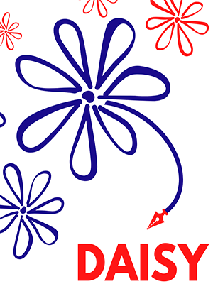 The image shows two large blue flowers and three smaller red ones around them. They look hand-drawn in style and the largest blue flower has a blue stem, at the end of which is the red nib of a fountain pen. Beneath this, in blocky red capital letters, is the word 'Daisy.'