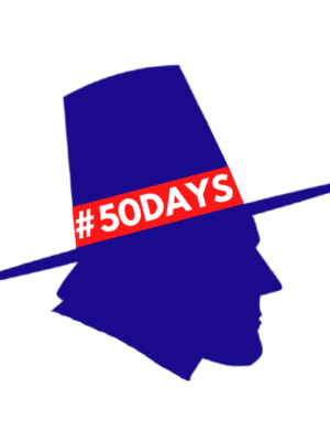 The blue silhouette of the profile of a man wearing a hat sits on a white background. A red band goes around the hat and reads '#50Days' in white text.