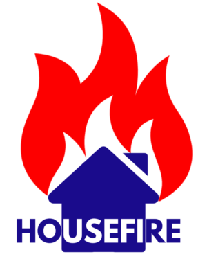The image shows a blue house caught up in a large red and white flame. The word 'Housefire' runs across it in blue and white capital letters.