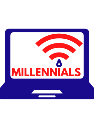 On a white background is the blue silhouette of a laptop, facing the viewer. On the screen is a red WiFi icon, underneath which is the word 'Millennials' in red.