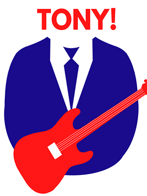 The image shows the blue silhouette of a man's torso in a suit, a red guitar in front of him. Above his shoulders is the title 'Tony!' in red letters.