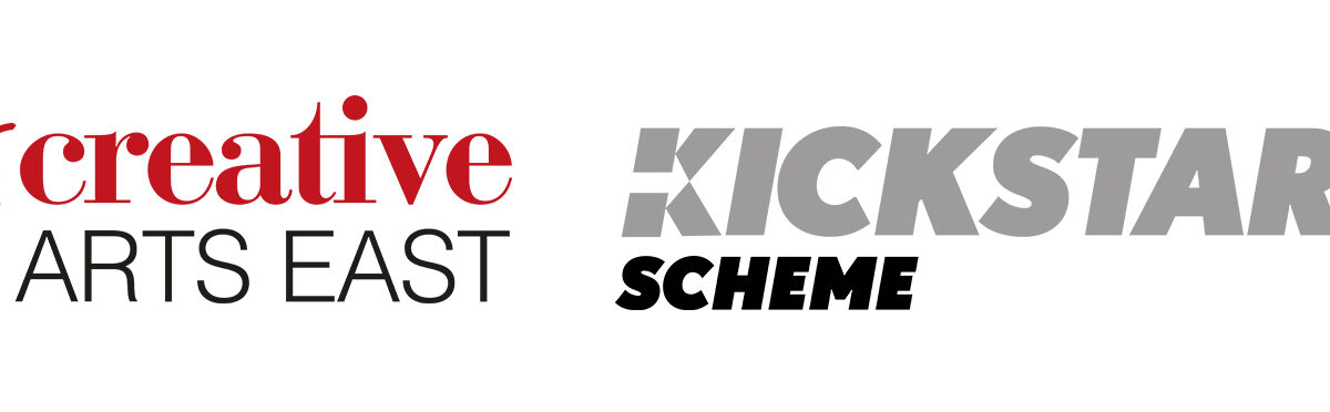 The white banner is landscape and features two logos. From left to right, they are for 'Creative Arts East' and the 'Kickstart Scheme.'