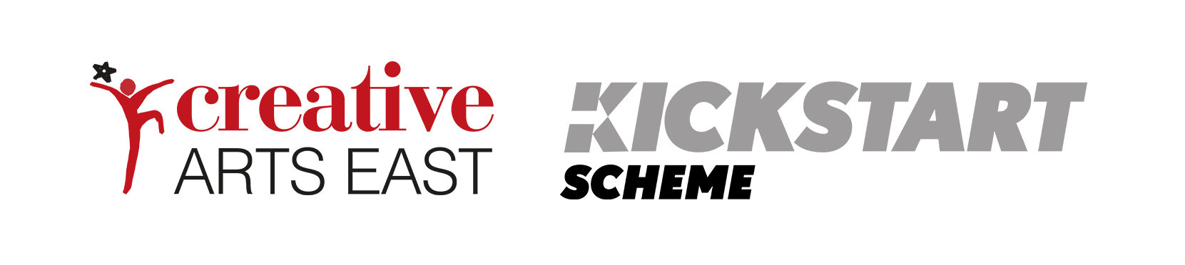 The white banner is landscape and features two logos. From left to right, they are 'Creative Arts East' and the 'Kickstart Scheme.'