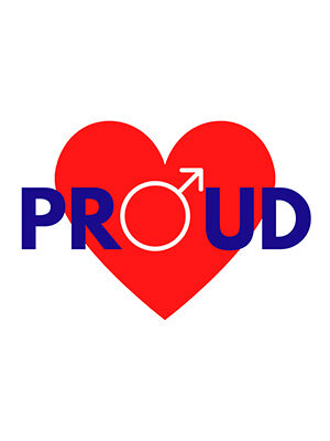 The image shows a large red heart with the word 'Proud' in blue capital letters in front of it. The 'o' is in white and forms the circular part of the male symbol, the white arrow pointing up to the right of the heart.