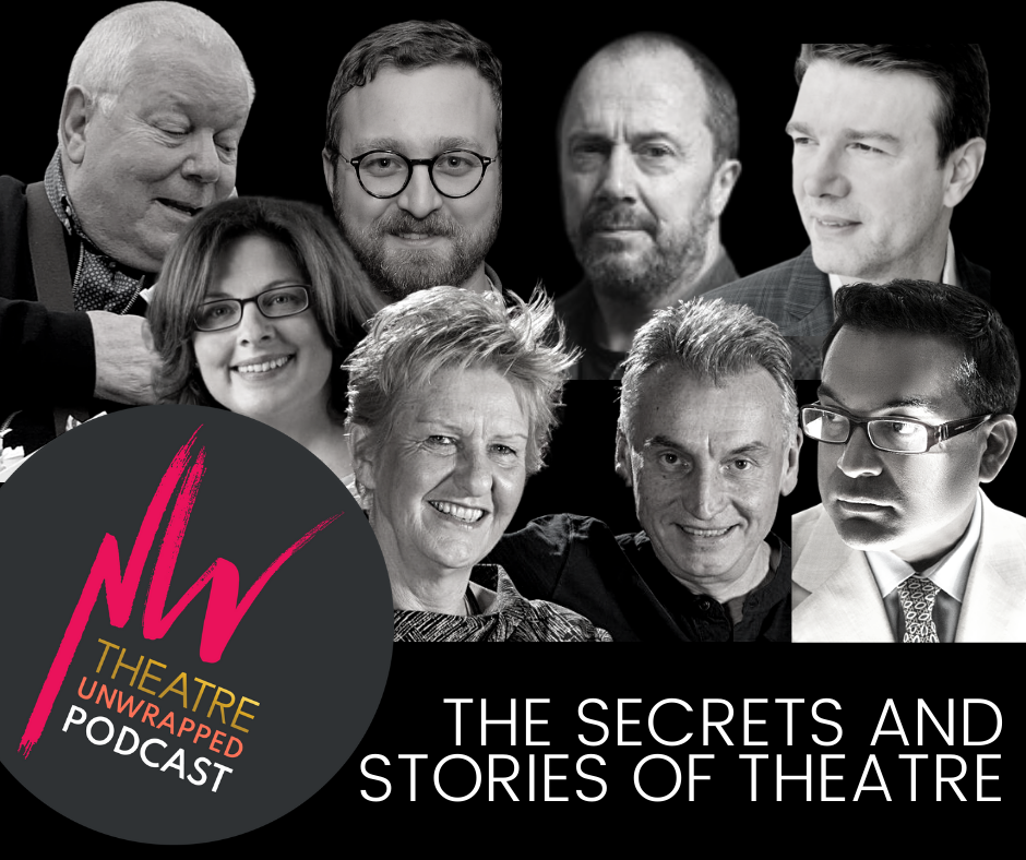 The image is in black and white and shows a collage of photos of people involved in the first three episodes of the podcast. Underneath them are the words 'The secrets and stories of theatre.' The only section in colour is the New Wolsey logo on the left-hand side, in a bubble that also reads 'Theatre Unwrapped: Podcast.'