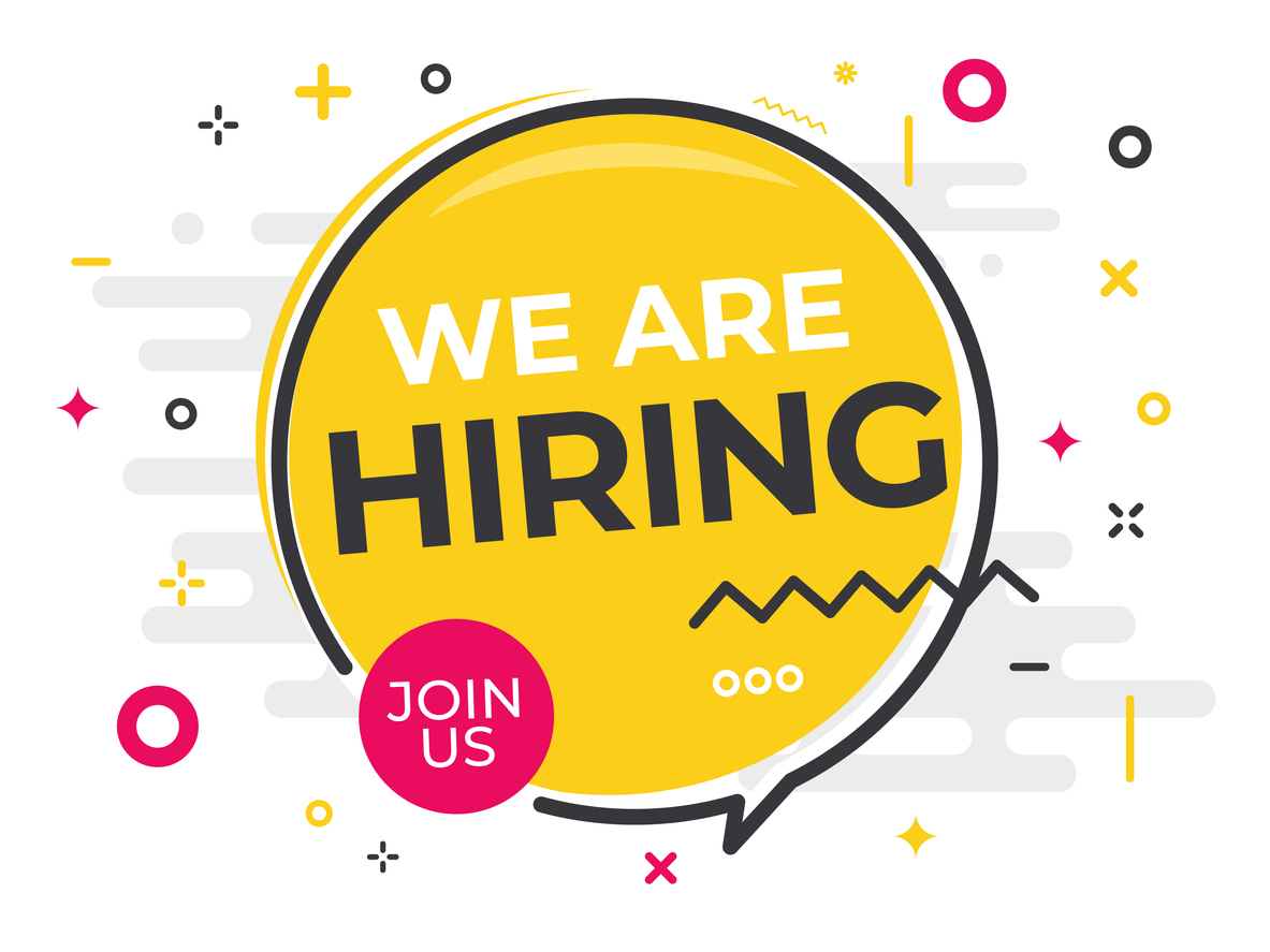 The graphic shows a yellow speech bubble with multicoloured doodles around it, reading 'We are Hiring' with a pink circle in the bottom left reading 'Join Us.'