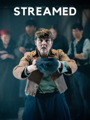 Oliver Twist holds a cap towards the viewer. At the top of the image is the word 'streamed.'